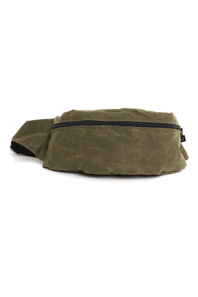ZEKI WAIST PACK IN OLIVE WAX CANVAS FRONT VIEW
