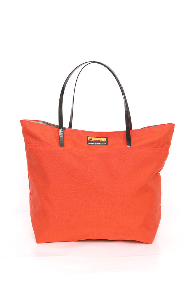 NO 9 TOTE IN ORANGE WITH BLACK HANDLES