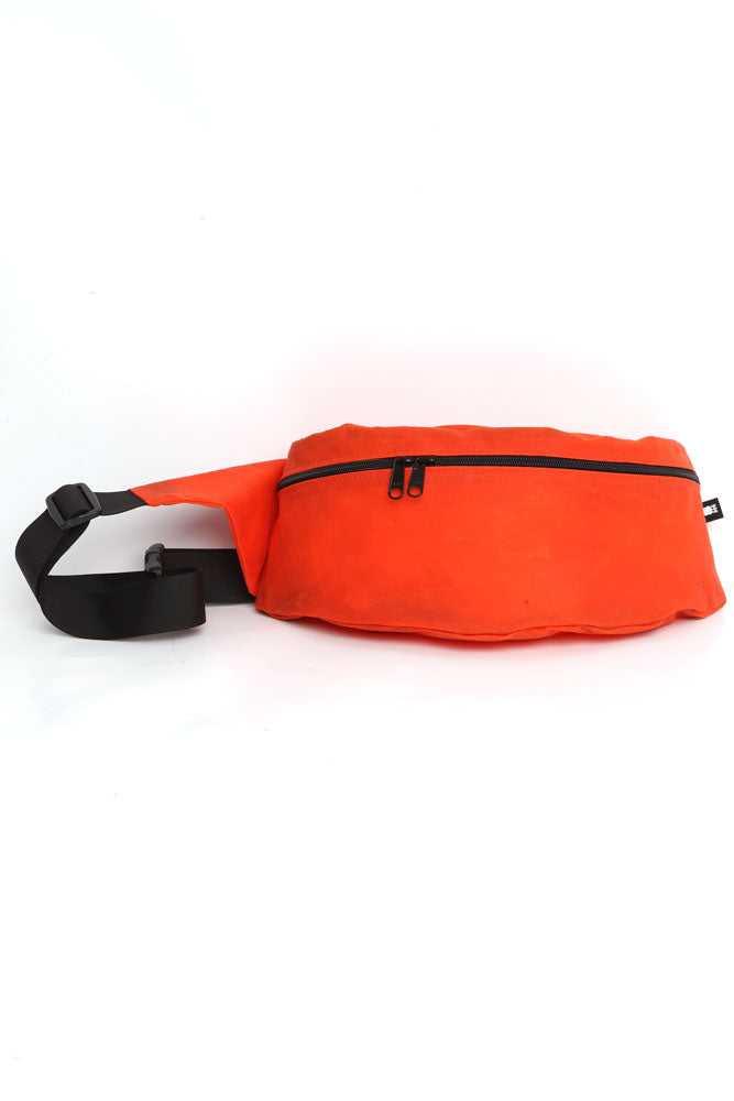 ORANGE WAXED CANVAS FANNY PACK , FRONT VIEW