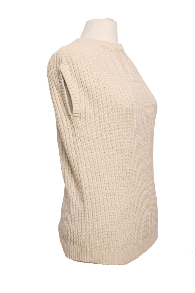 side view sleeveless cable knit sweater vest in white