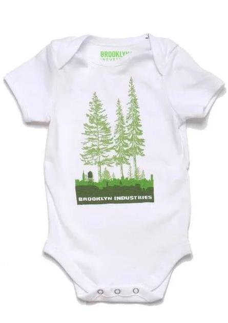 BABY ONESIE WITH THE OVER GROWN BROOKLYN LOGO IN GREENS