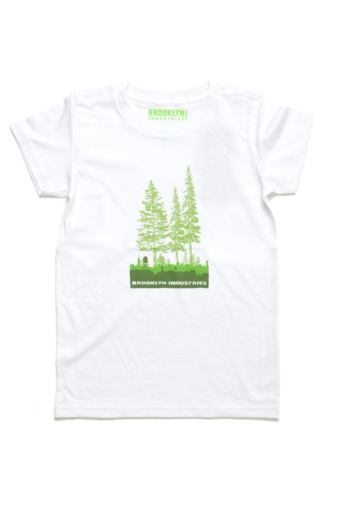 YOUTH SIZED T-SHIRT WITH OVERGROWN CITY GRAPHIC ON CHEST