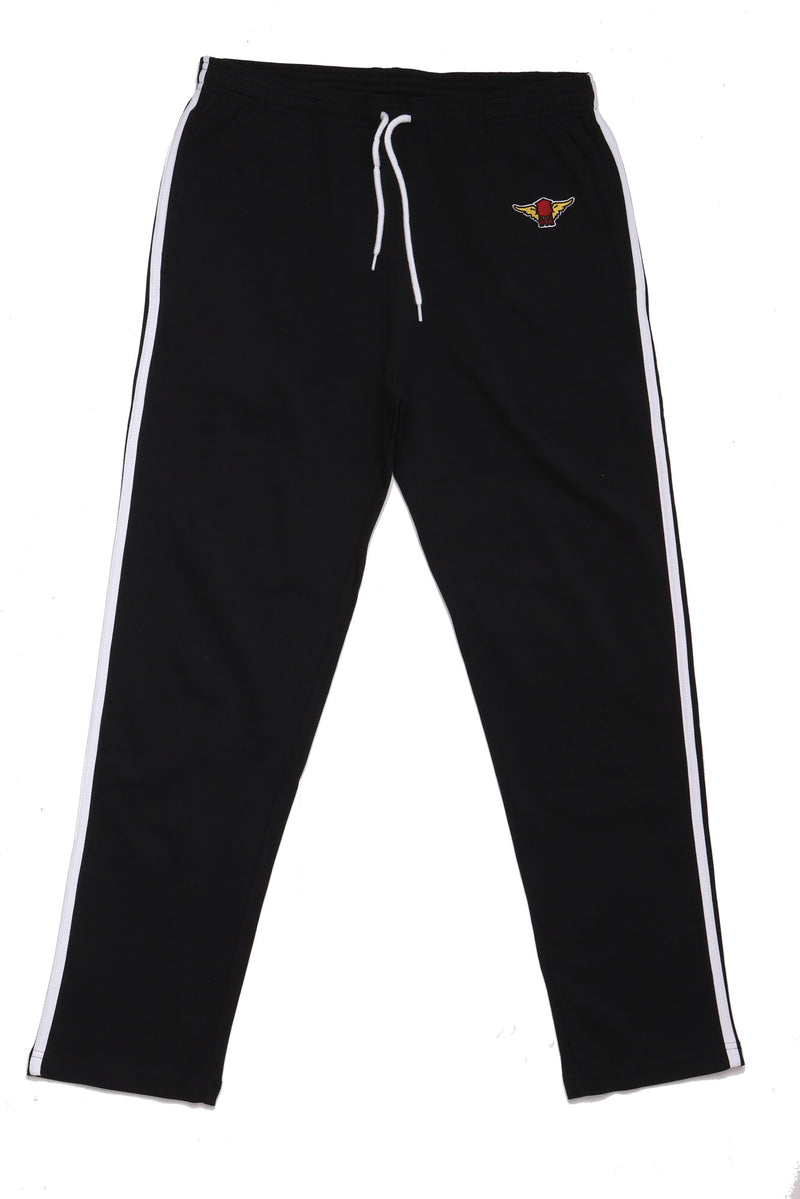 flat lay of black track pant with white piping the patch on the hip