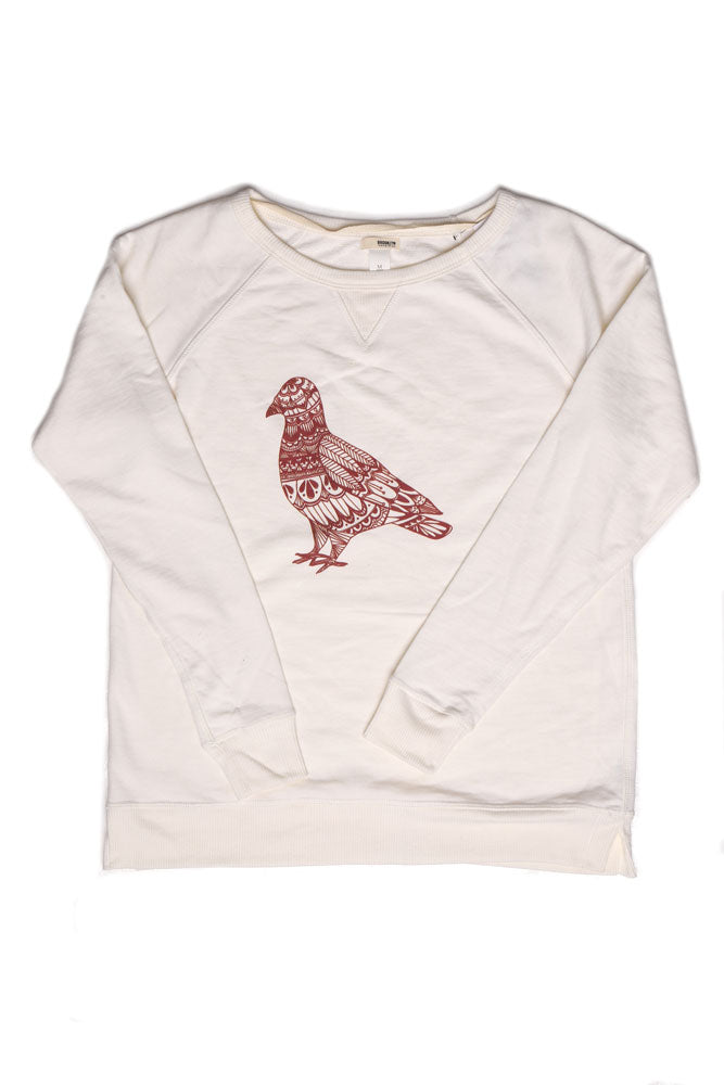 FLAT LAY OF PROCELAIN SWEATSHIRT WITH DOODLED GRAPHIC PIGEON IN MAROON.