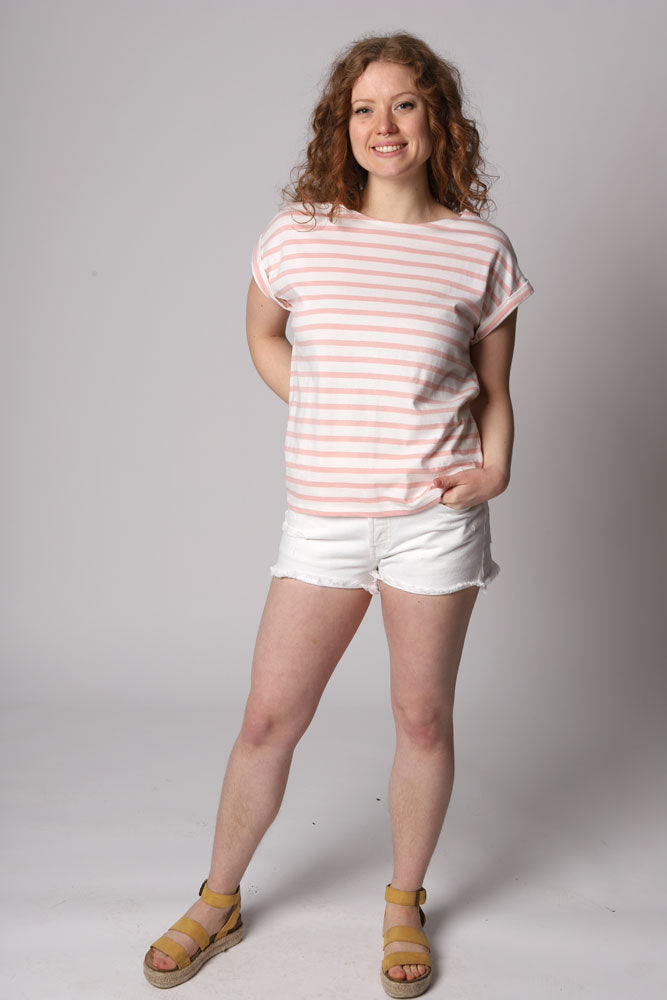 WOMEN IN ORGANIC COTTON KNIT SHIRT WITH PINK AND WHITE STRIPES AND CAPPED SLEEVES