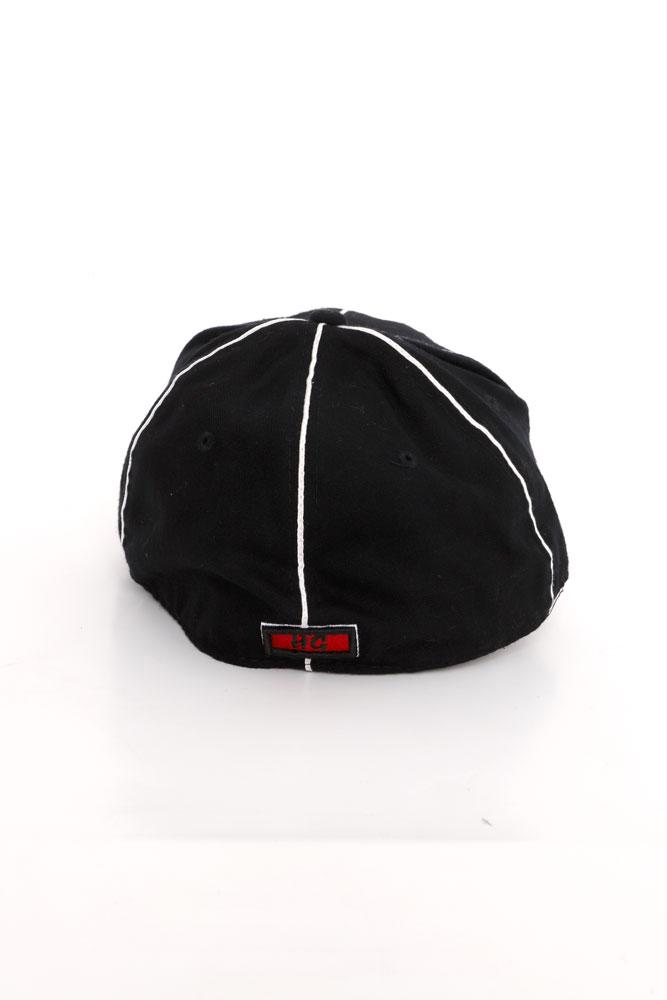 back view of black and white baseball cap  in wool
