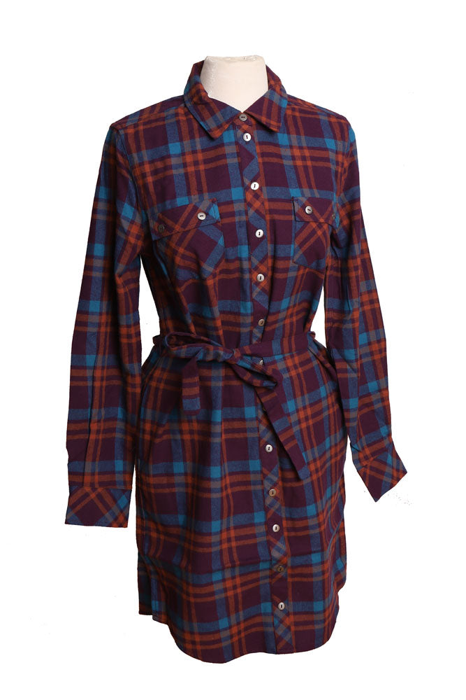 women's organic cotton shirt dress in brown and purple plaid with waist tie