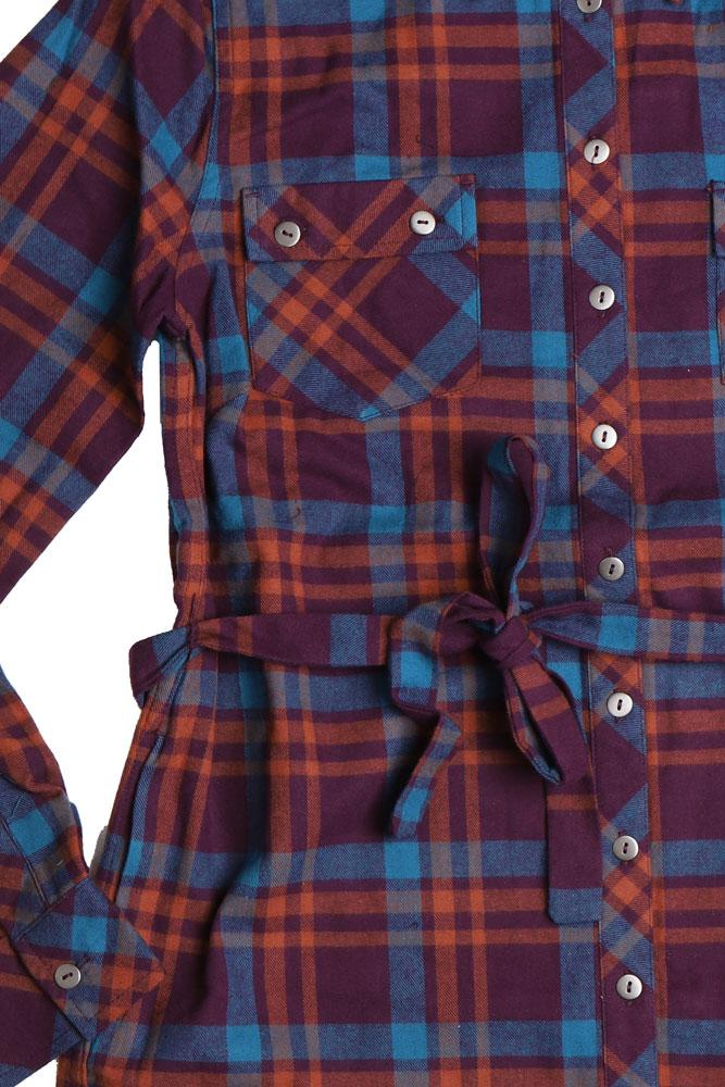 detail of women's organic cotton shirt dress in brown and purple plaid with waist tie
