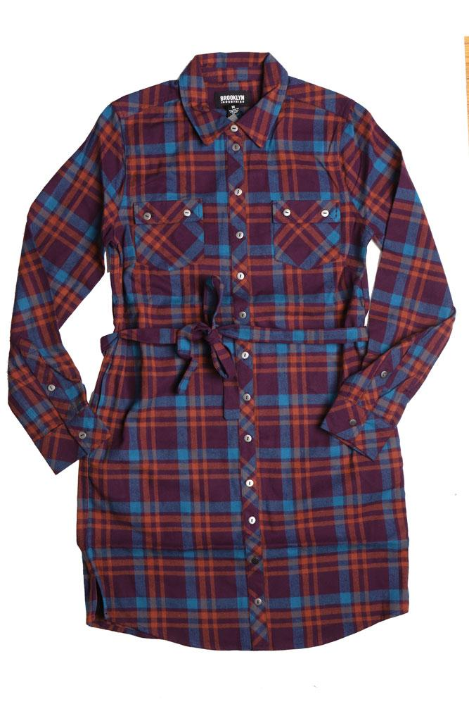 flat lay of women's organic cotton shirt dress in brown and purple plaid with waist tie