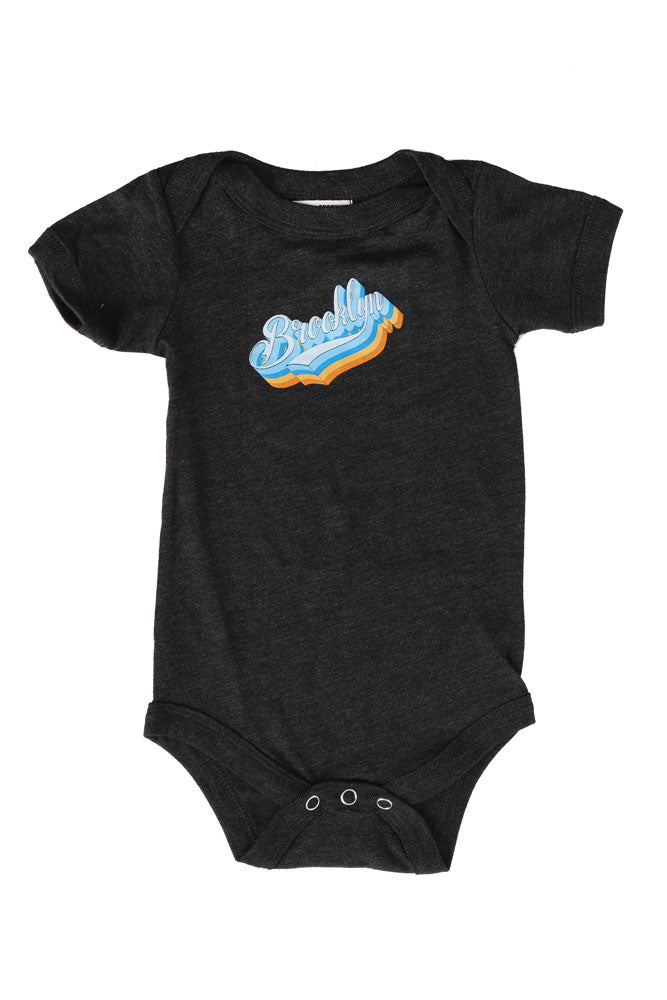 flat lay charcoal onesie with BK Platform graphic on chest