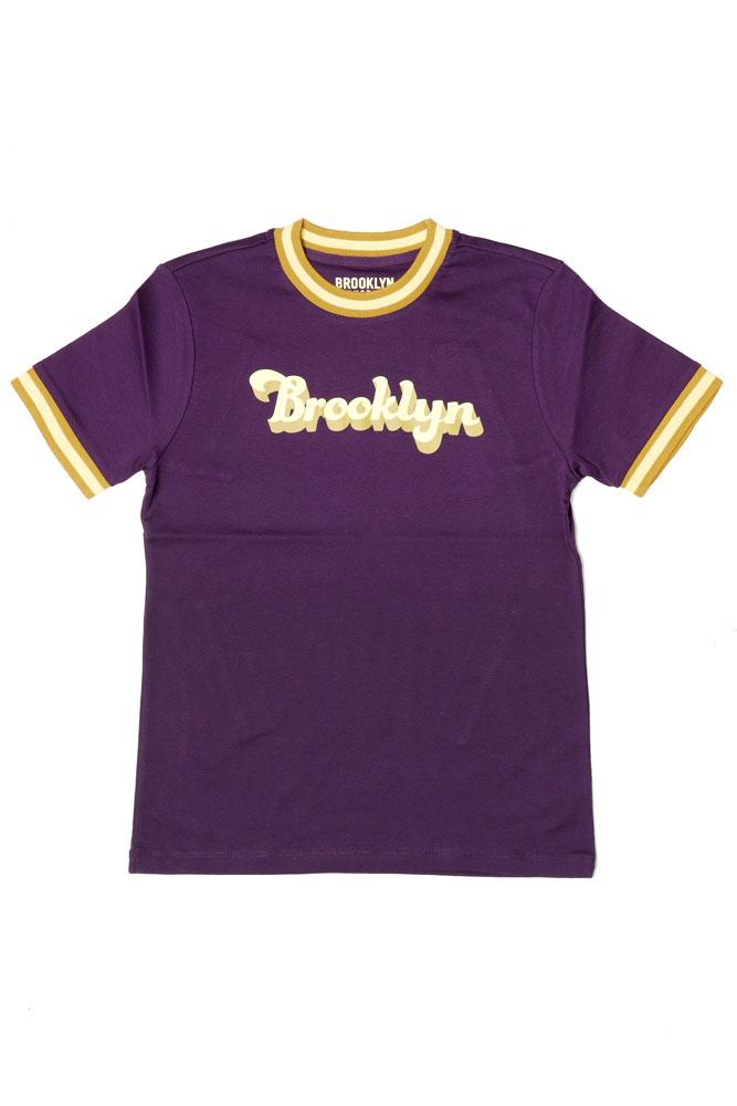 RETRO STYLE WOMEN'S CREW NECK T WITH SLEEVE AND COLLAR RINGERS, WITH BROOKLYN SCRIPT ON THE CHEST .  IN BLACKBERRY PURPLE