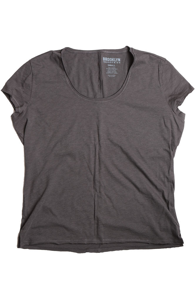 flat lay asphalt colored women's t-shirt with raw edges