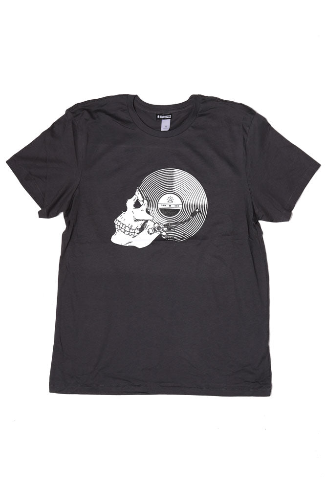 flat lay record skull tshirt in earth coal