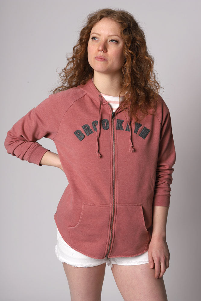 WOMEN IN DITMAS PARK ZIP UP HOODIE WITH BROOKLYN APPLIQUE IN AN ARCH ON THE CHEST