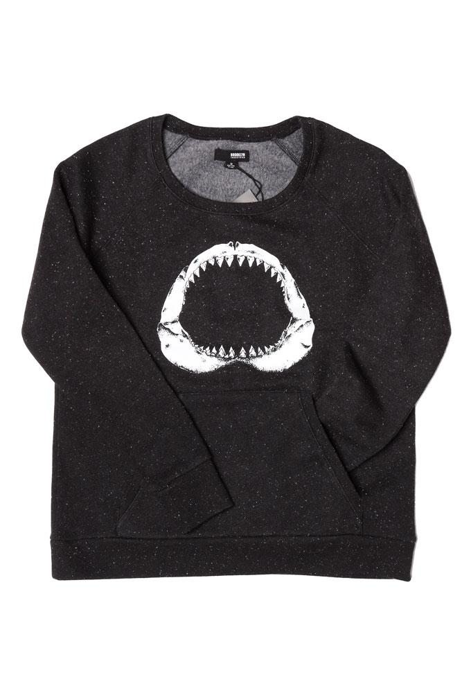 FLAT LAY BLACK CREW NECK SWEATSHIRT WITH JOEY POUCH AND WHITE SHARK JAW GRAPHIC