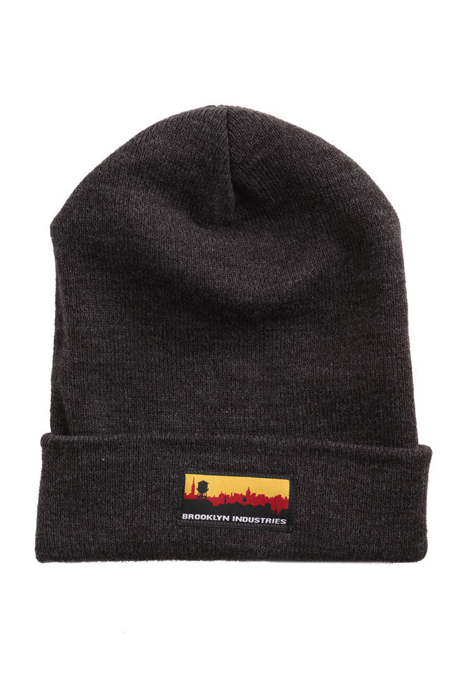FLAT LAY OF SKYLINE BEANIE IN  GREY