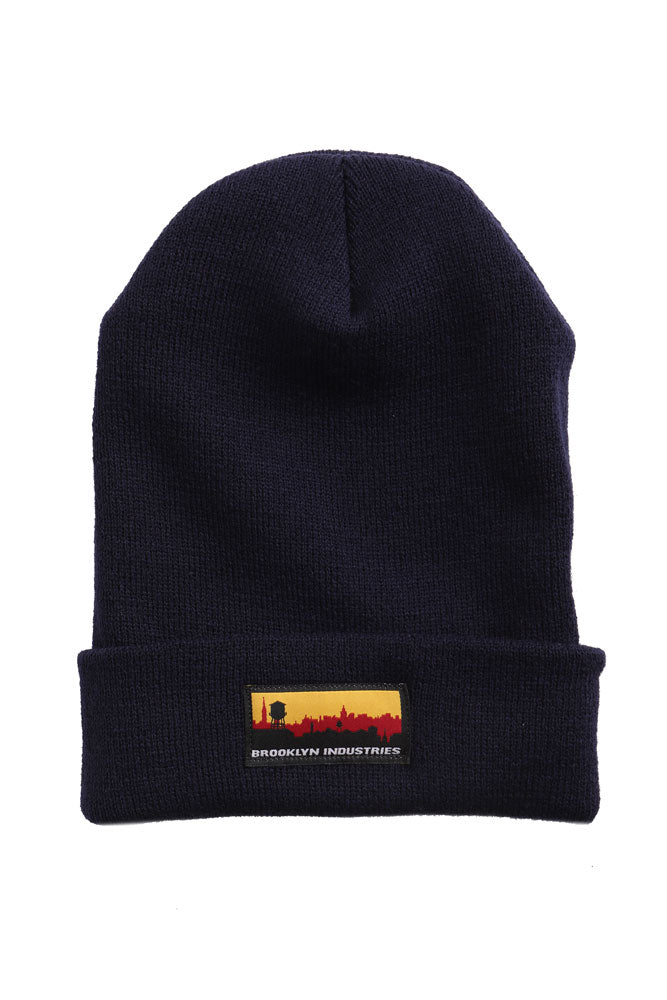 FLAT LAY OF SKYLINE BEANIE IN NAVY