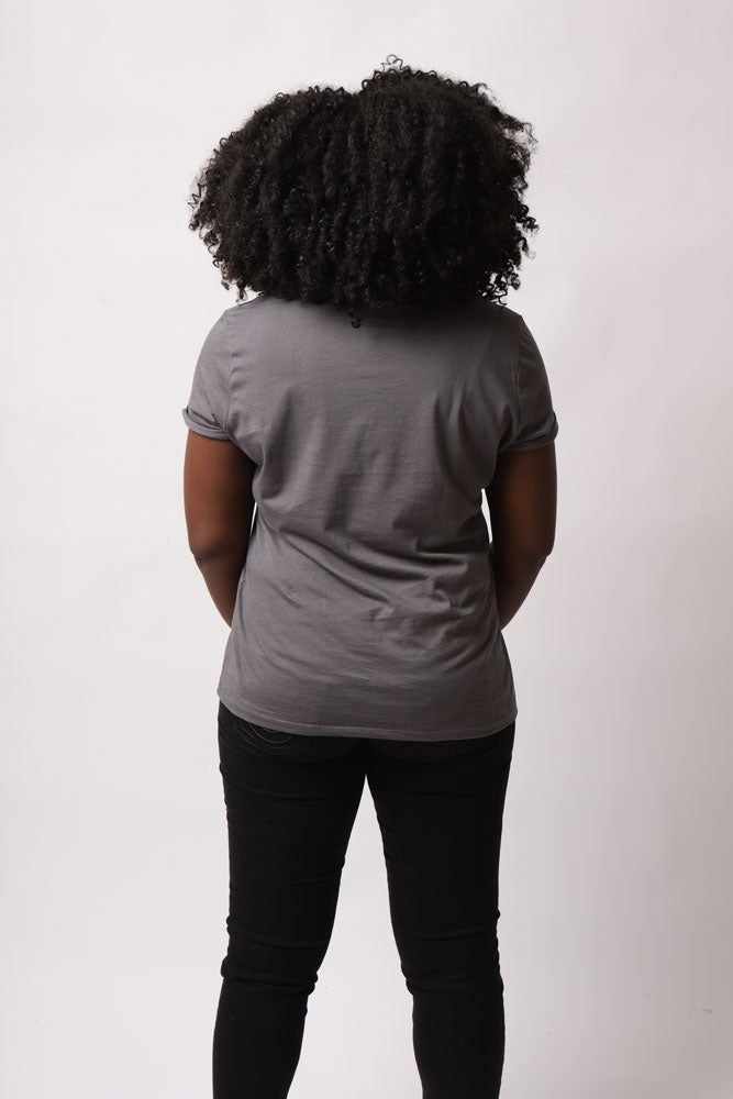 back view of model in grey shirt
