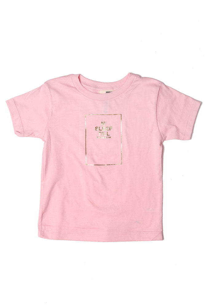 flat lay pink toddler t-shirt with glittery gold no sleep graphic