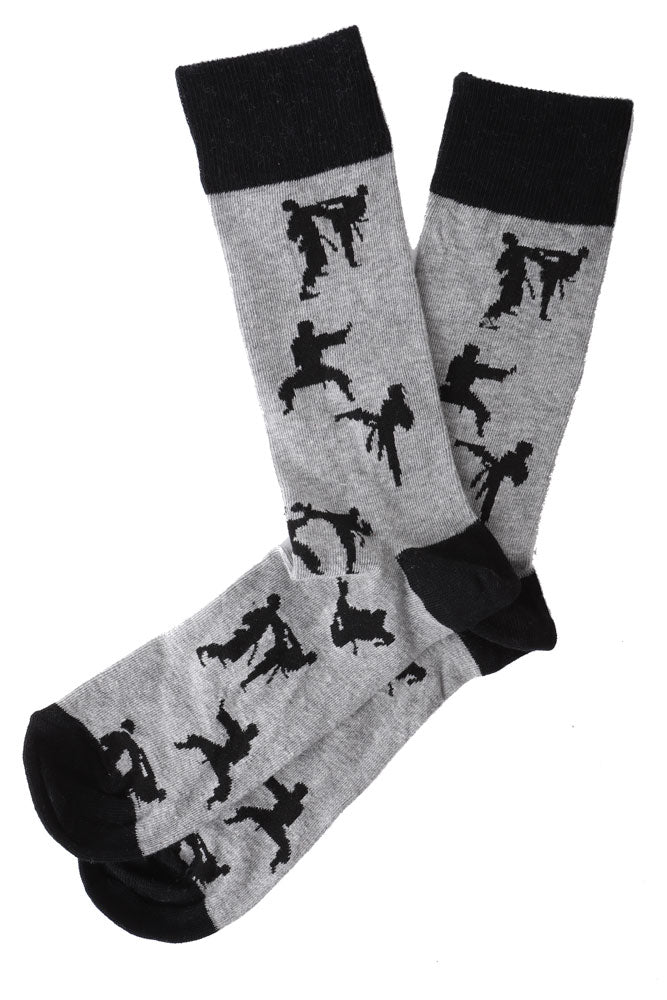MENS DRESS SOCK GREY WITH BLACK KARATE PEOPLE