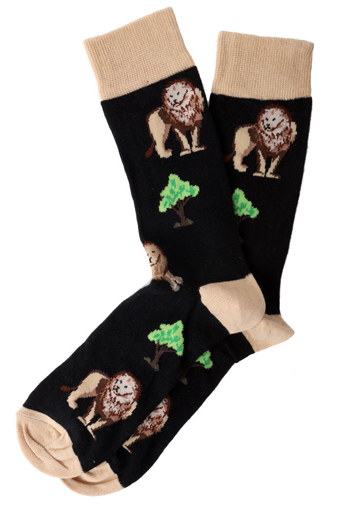 men's DRESS SOCK WITH KHAKI TRIM FEATURING LIONS AND TREES