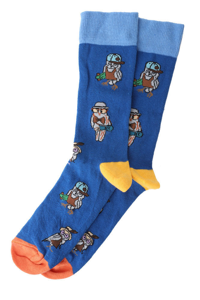 BLUE MEN'S DRESS SOCKS WITH SMART OWL GRAPHIC AND CONTRASTING YELLOW HEEL AND ORANGE TOE