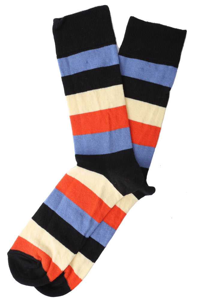 ORANGE YELLOW BLUES STRIPE MEN'S DRESS SOCK