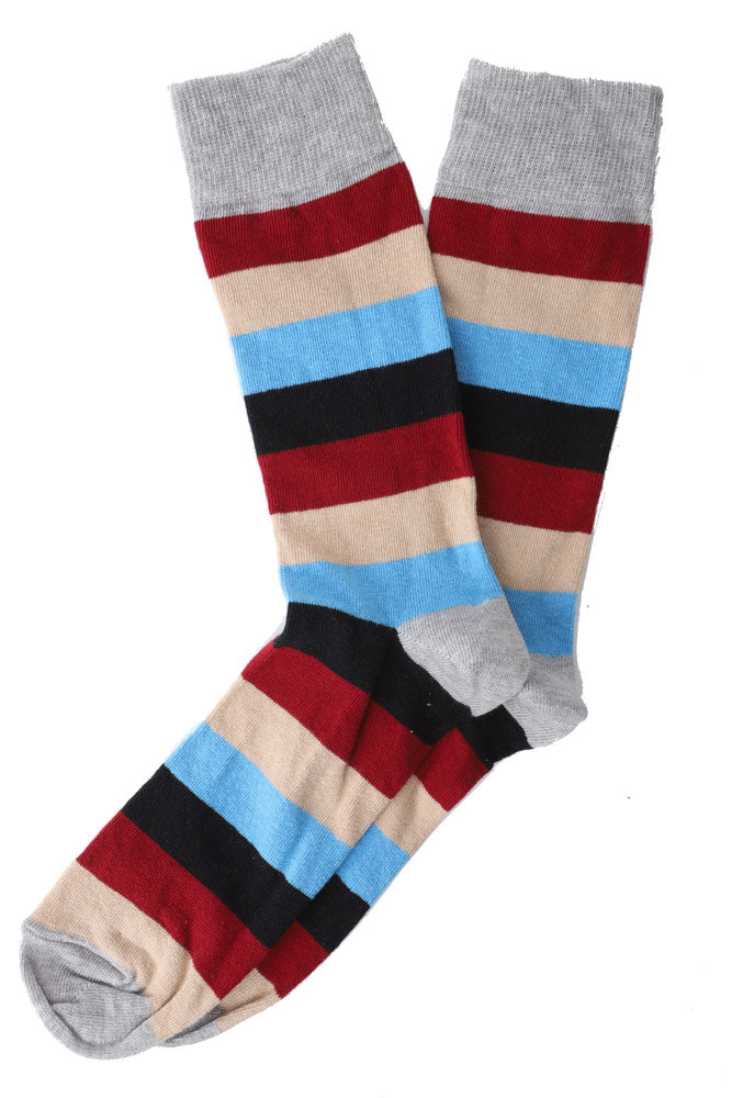 MEN DRESS SOCK, STRIPE, GREY RED KHAKI BLUES