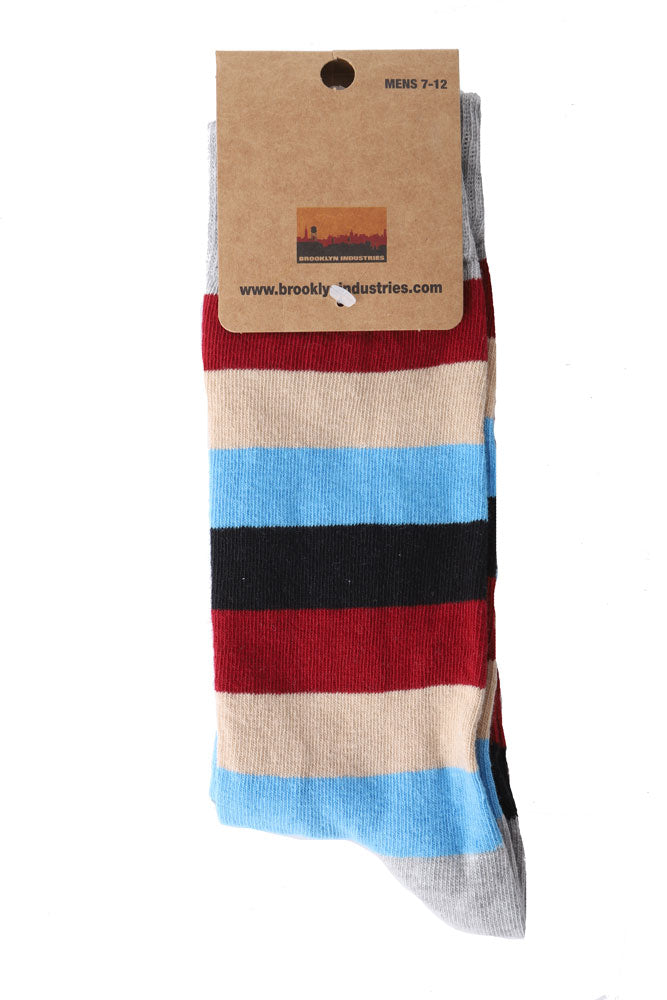 STRIPE BLUE BROWN SOCK IN PACKAGING