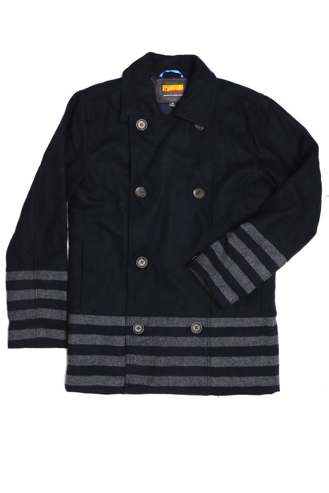 STRIPED PANEL PEACOAT M