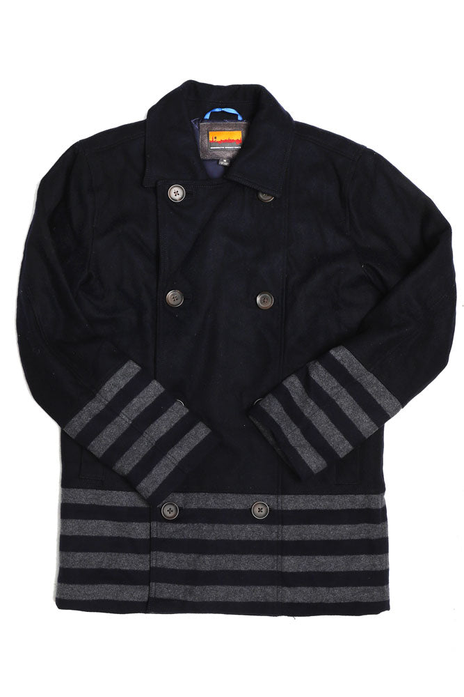STRIPED PANEL PEACOAT M - BROOKLYN INDUSTRIES