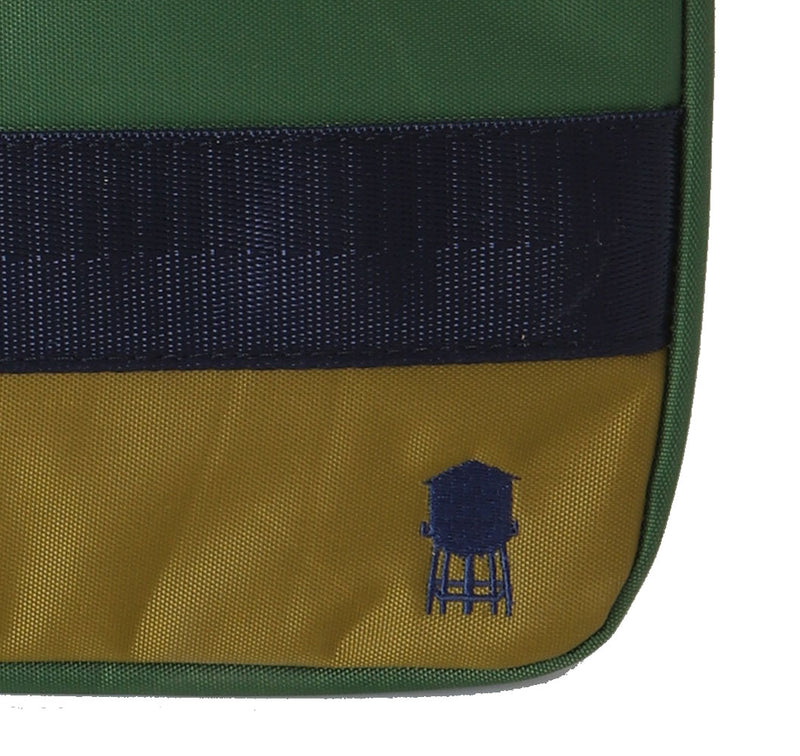 SMALL LINED TECH BAG IN GREENS AND BLUE, DETAIL OF BLUE WATER TOWER EMBROIDERY