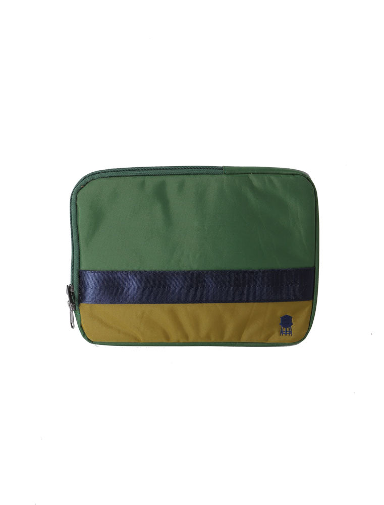 SMALL LINED TECH BAG IN GREENS AND BLUE