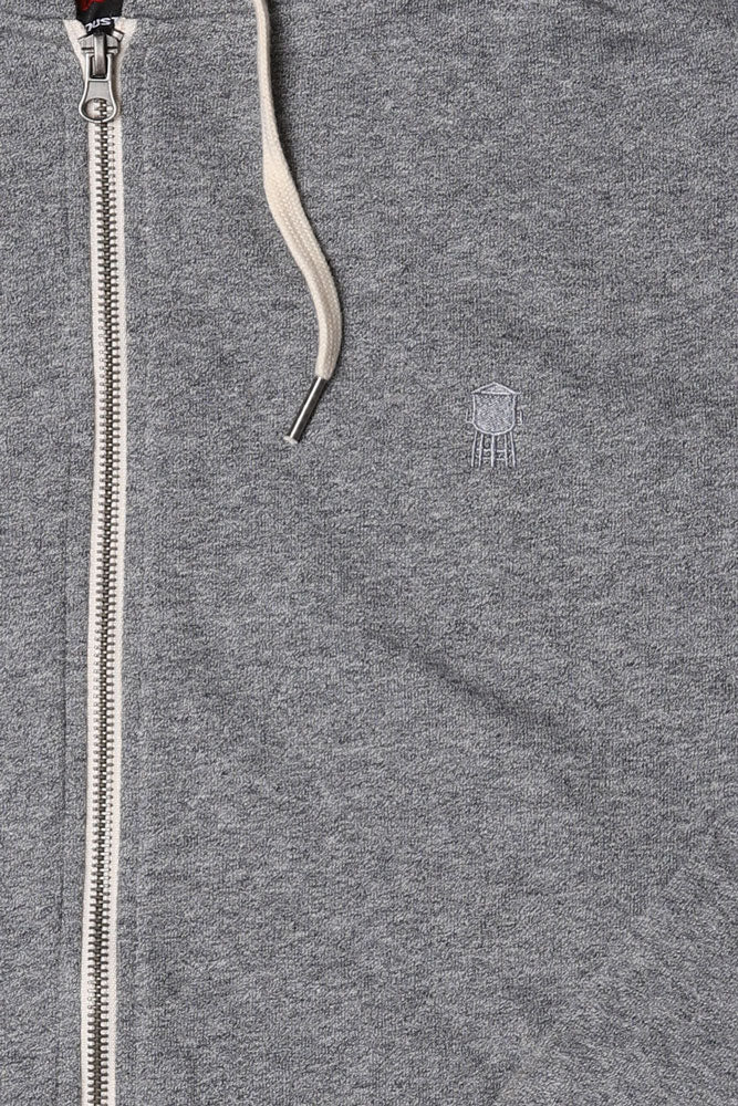 DETAIL OF  FRENCH TERRY ZIP UP , GRE SWEATSHIRT, GREY TOWER EMBROIDERY