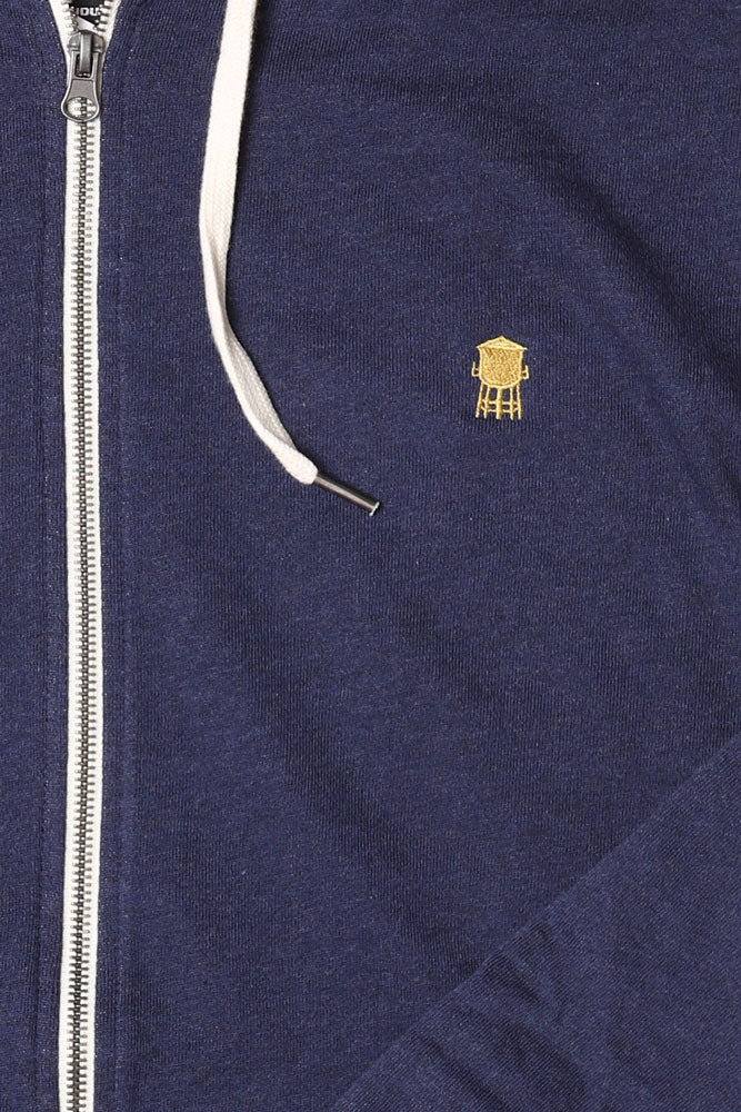 DETAIL OF  FRENCH TERRY ZIP UP , NAVY SWEATSHIRT, GOLDEN TOWER EMBROIDERY