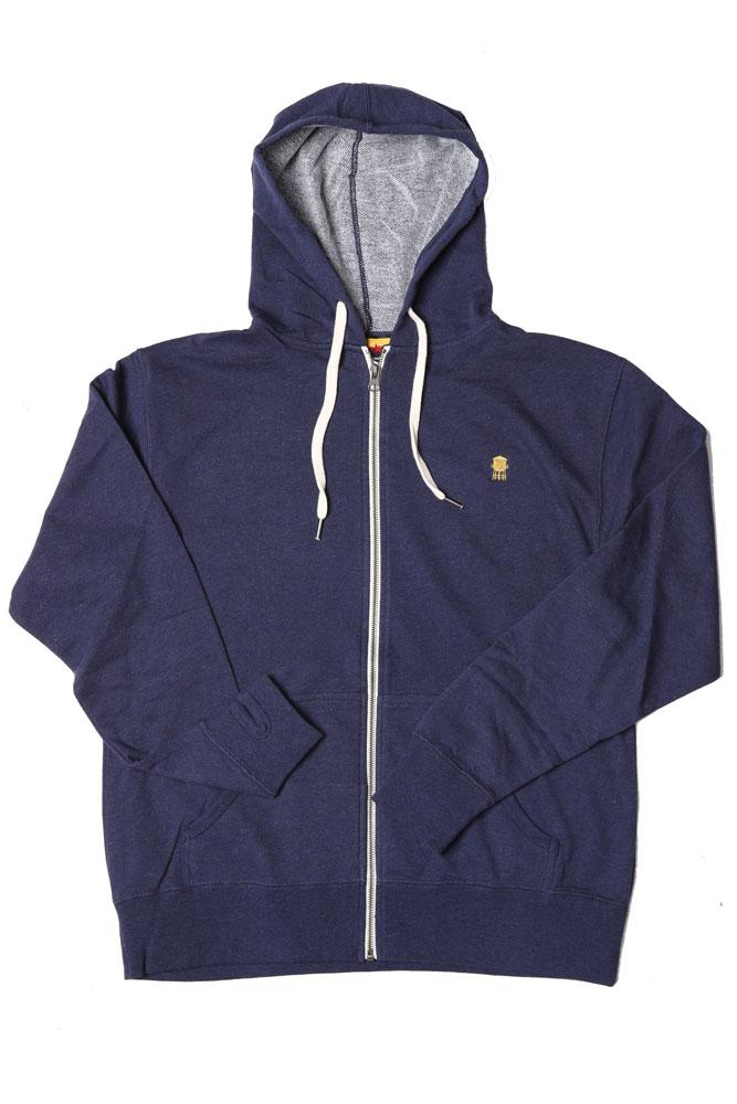 FLAT LAY FRENCH TERRY ZIP UP , NAVY SWEATSHIRT, GOLDEN TOWER EMBROIDERY