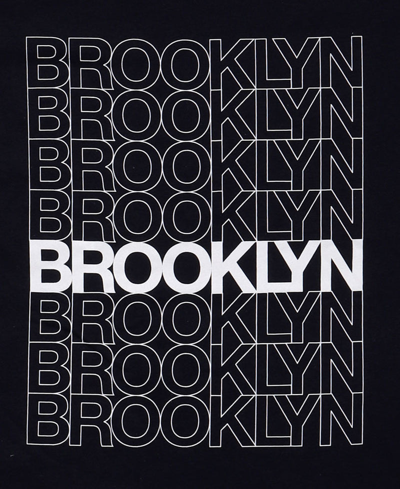 DETAIL OF REPEATED BROOKLYN TEXT IN OUTLINE, ONE IN SOLID WHITE