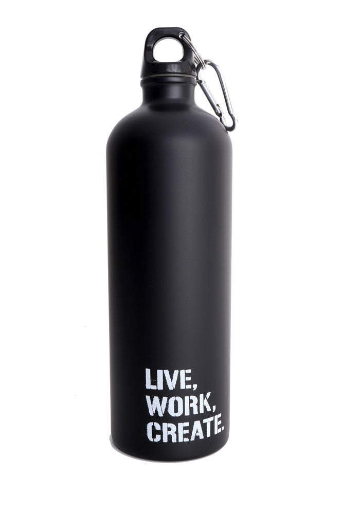 black stainless steel water bottle with white LIVE WORK CREATE logo, and twisting lid with carabiner