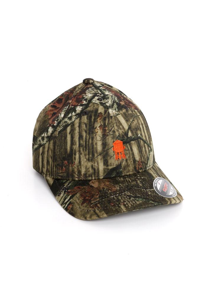 CAMO FELX FIT BASEBALL CAP WITH ORANGE WATER TOWER