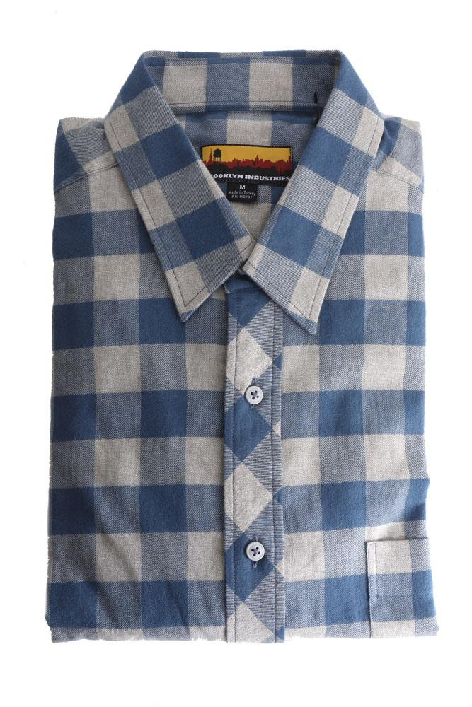 folded westerlo shirt in blue and tan checkered plaid flannel