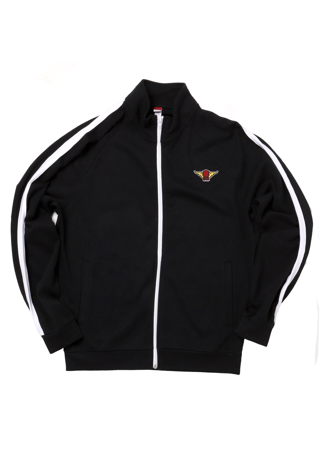 black track jacket flat lay with with winged water tower patch on left chest  arms to the side