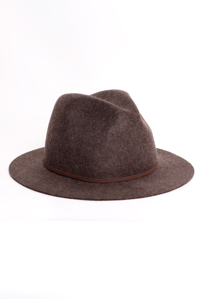 brown wool hat with brown faux leather strapping detail