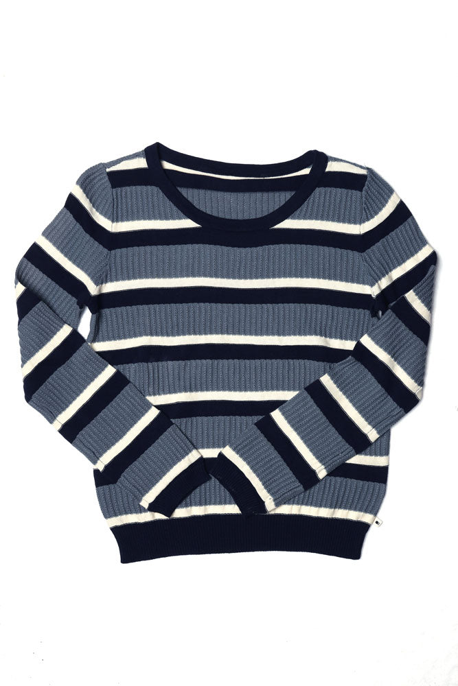 Flat lay cotton women's sweater in blue and white stripes