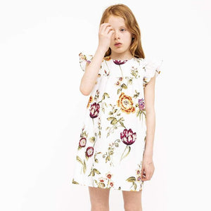 White Summer Cap Sleeve Dress (No. 131, Fabric No. 20)