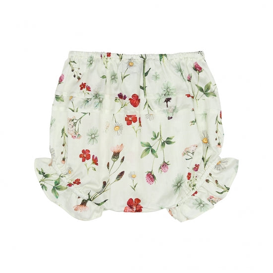 White Floral Baby Shorts (No. 837, Fabric No. 12)