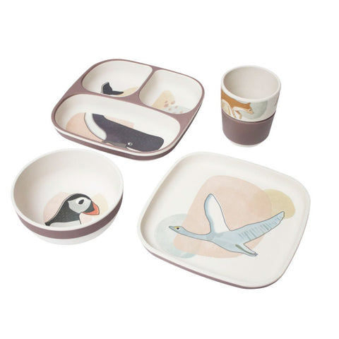 Bamboo melamine dinner set