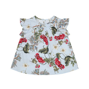 Light Blue Flower Baby Dress (No. 806, Fabric No. 5)