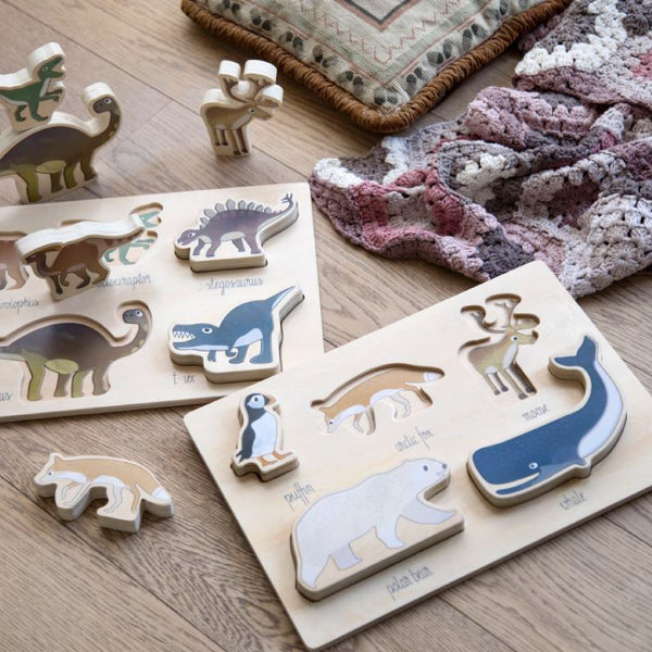 Wooden chunky puzzle, Arctic animals