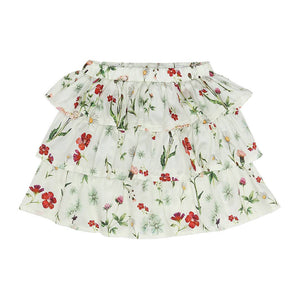 White Floral Tier Skirt (No. 203, Fabric No. 12)
