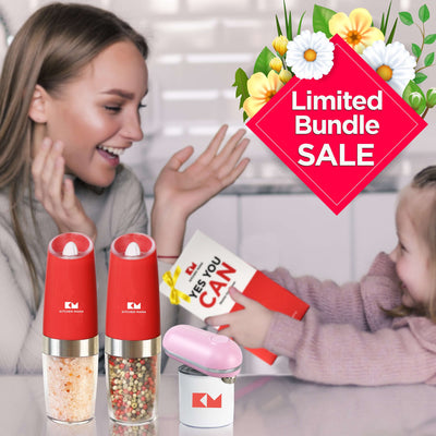 Mother's Day Gift Package : One-touch Mini Can Opener + a Set of One-Flip Salt & Pepper Grinders